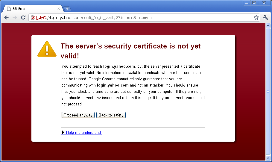 Certificate security warning